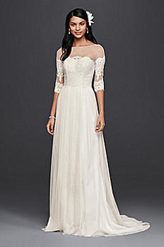 Petite Wedding Dress with Lace Sleeves 7WG3817