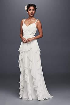 Ruffled Chiffon Wedding Dress with Lace Back