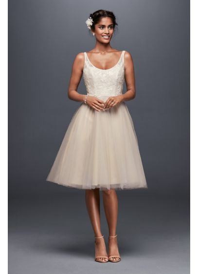 Tulle and Embroidered Lace Short Wedding Dress | David\'s Bridal