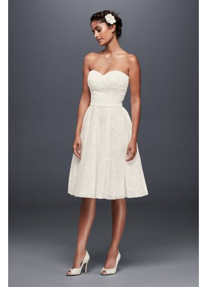 Strapless Pleated Lace Short Wedding Dress | David\'s Bridal