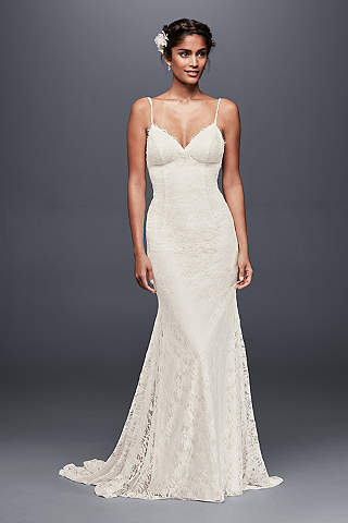 Wedding Dresses With Low Backs Davids Bridal - Spaghetti Strap Wedding Dresses