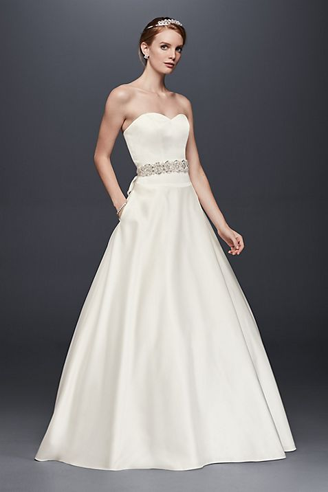 Satin Sweetheart Ball Gown with Button Back   David\'s Bridal