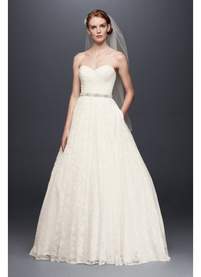Lace pleated bodice ball gown wedding dress davids bridal long ballgown country wedding dress davids bridal collection junglespirit Images