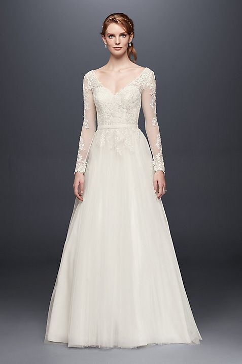 Long Sleeve Wedding Dress With Low Back   David s Bridal. Low Back Wedding Dresses Lace. Home Design Ideas