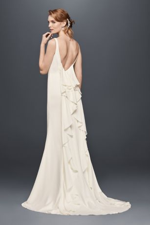 High neck crepe wedding dress with ruffled back david 39 s for Simple form fitting wedding dresses