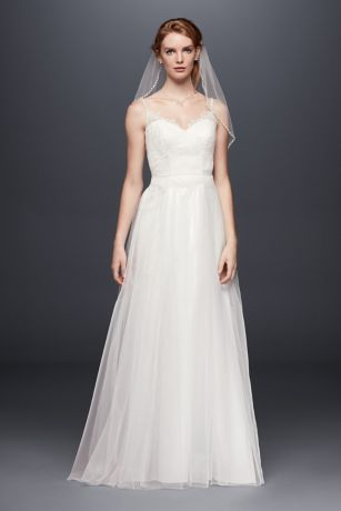 Lace and Tulle Wedding Dress with Beaded Straps Davids Bridal