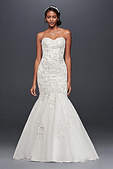 Petite Metallic-Beaded Lace Wedding Dress 7WG3839
