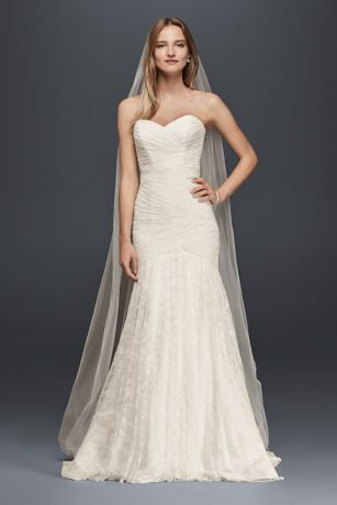 Allover Lace Strapless Mermaid Wedding Dress Davids Bridal