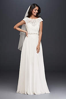White a line wedding dresses gowns david 39 s bridal for Simple wedding dresses for small wedding