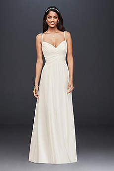 Long A-Line Spaghetti Strap Dress - David's Bridal Collection