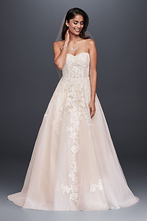 Sheer lace and tulle ball gown wedding dress davids bridal junglespirit Gallery