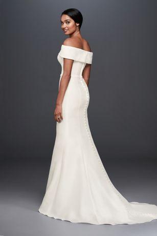 Off The Shoulder Mikado Trumpet Wedding Dress Davids Bridal