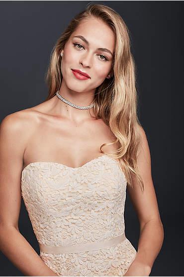 Guipure Lace Sheath Wedding Dress with Ribbon Sash