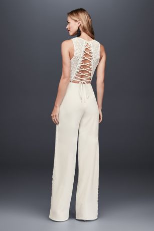 Lace Crop Top And Crepe Wide Leg Pants David S Bridal