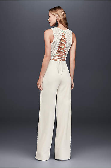 Lace Crop Top and Crepe Wide-Leg Pants