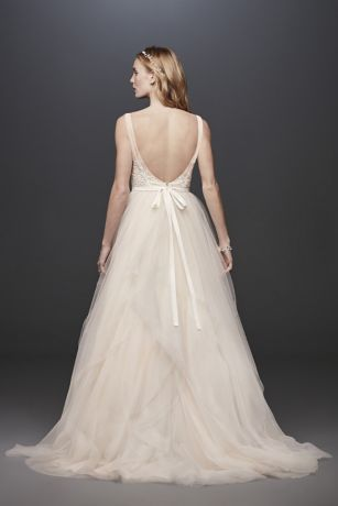 Tulle Tank V Neck Ball Gown With Layered Skirt David S