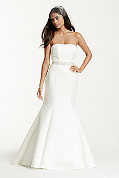 Petite Satin Wedding Dress with Beaded Sash 7WG9871