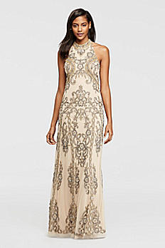 Allover Beaded Dress with Halter Neckline WGIN0055