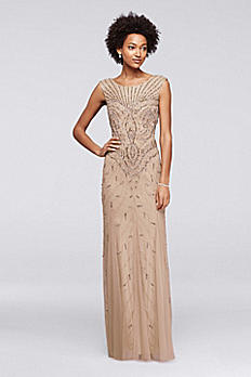 Long Beaded Art Deco Dress with Cap Sleeves WGIN0206