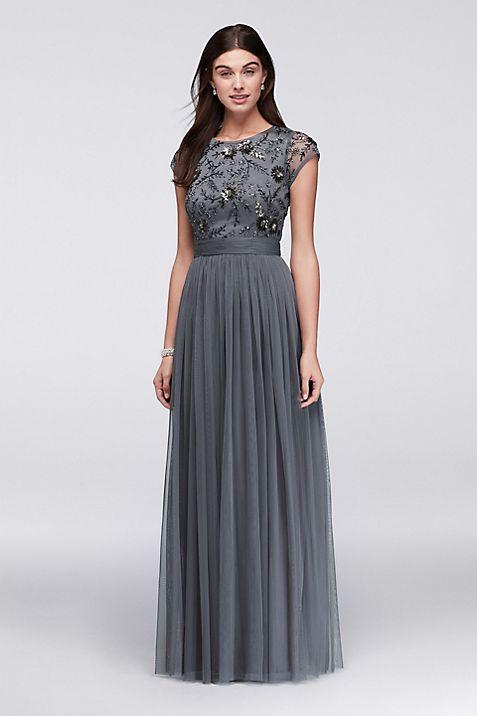 Beaded Cap Sleeve Dress with Tulle Skirt | David\'s Bridal