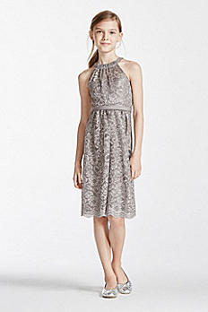 Sleeveless Lace Metallic Halter Dress WJB0344M