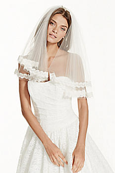 Two Tier Short Length Veil with Lace WPD16346