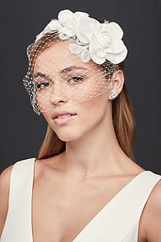 Flower and Bead Rustic Tulle Headband