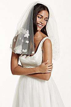 Short Two Tiered Veil with Scattered Floral Detail WPD17153