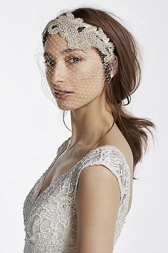 Embellished Crystal Blusher Veil WPD17923
