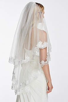 Two Tier Mid Length Veil with Crystals and Lace