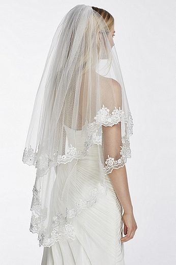 Two Tier Mid Length Veil with Crystals and Lace WPD17924