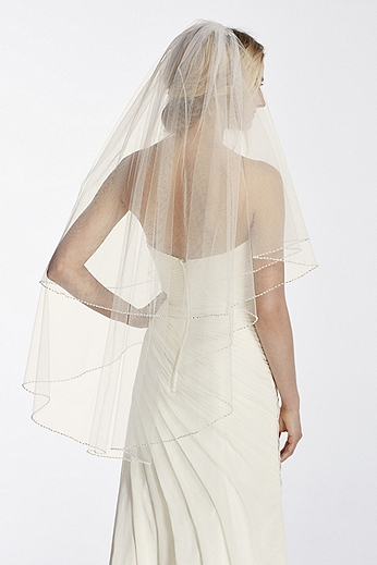 Two Tier Mid Length Veil with Pearl Edge WPD17932