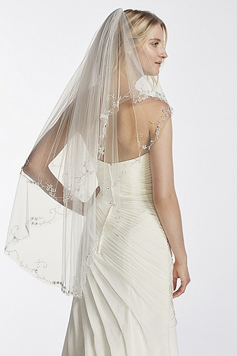 Two Tier Mid Length Veil with Beaded Edge WPD17936