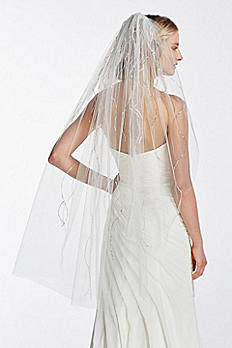 One Tier Mid Length Veil with Beaded Linear WPD17937