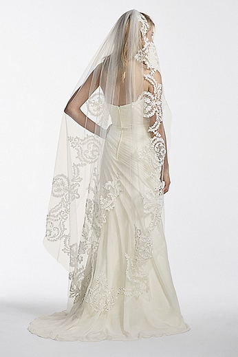 One Tier Mid Length Veil with Applique Scroll Work WPD17941