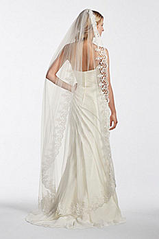 Walking Veil with Circle Cut Lace Edge WPD17943