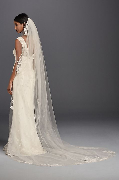 One Tier Sequin and Lace Cathedral Veil | David\'s Bridal