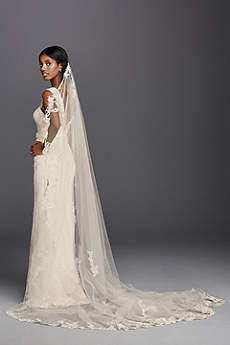 One Tier Cathedral Lace Applique Comb Veil