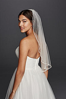 One Tier Beaded Edge Mid Length Veil WPD19749