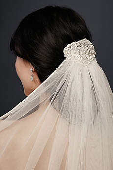 Mid-Length Veil With Beaded Lace Applique
