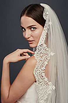 Cathedral Veil with Sequined Lace Appliques WPD20244
