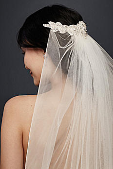 Mid-Length Veil with Floral Comb WPD20253