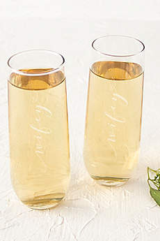 Wifey and Wifey Stemless Champagne Flutes
