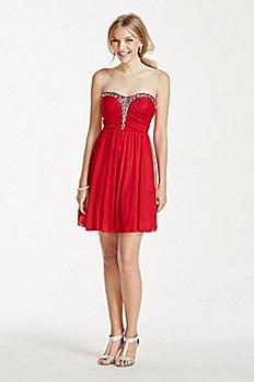 Rhinestone Embellished Short Mesh Dress X29781J34