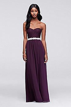 Strapless Chiffon Prom Dress with Beaded Sash X30421HVSD