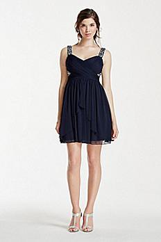 Short Mesh Dress with Embellished Tank Straps X31741J33