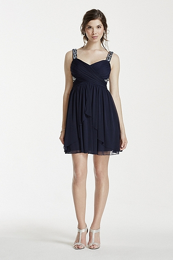 Short Mesh Dress with Embellished Tank Straps X31741J33