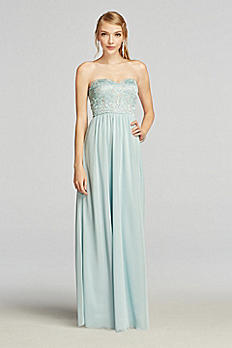 Strapless Chiffon Prom Dress with Lace Bodice X30081H167