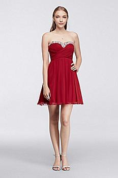 Short Dress with Crystal Beaded Neckline X33991J34