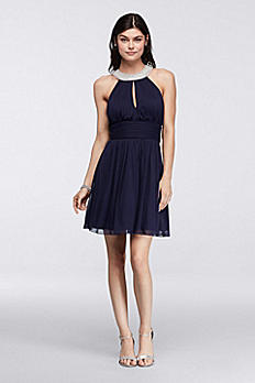 Short Homecoming Dress with Pearl Keyhole Neckline X34261J33
